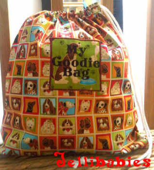 Personalised fully lined dog fabric toy laundry book bag