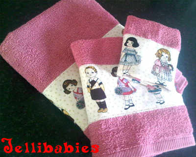 Vintage paper dolls  new baby towel gift set