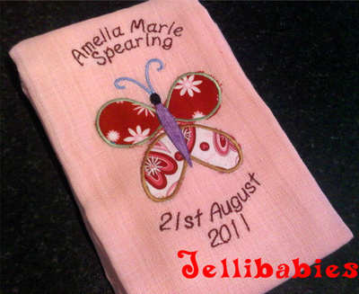 Personalised  butterfly baby muslin square