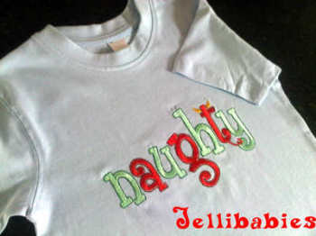 """Naughty"" Childrens christmas T shirt"