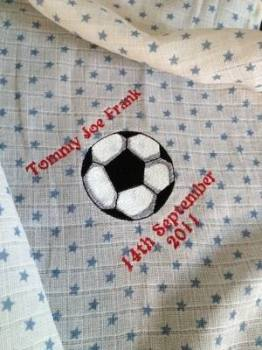 Personalised  football baby muslin square