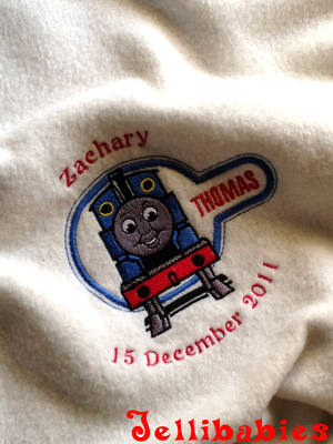 Personalised Thomas the tank engine cot blanket