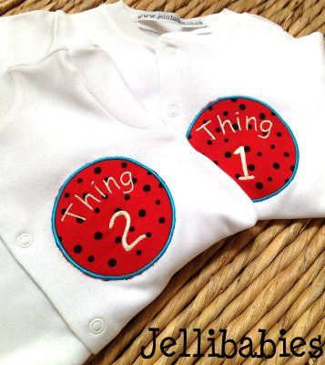 Twins Dr Seuss Thing one and Thing Two new baby gift set