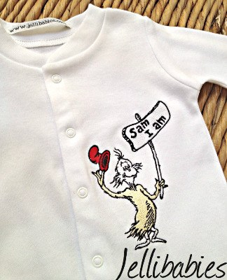 Dr Seuss I Am Sam babygrows and sleepsuits