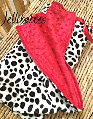 Dalmation print fur fabric and minkee fleece baby travel blanket
