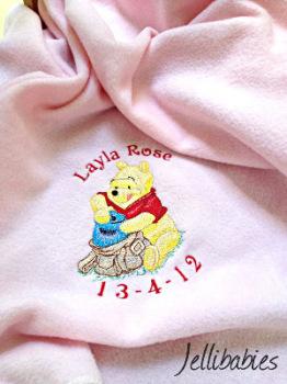 Personalised winnie the pooh cot blanket