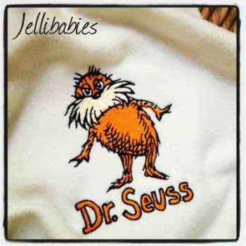 Personalised The Lorax  fleece baby cot  blanket