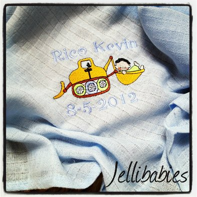 Personalised  dumper truck  baby muslin square