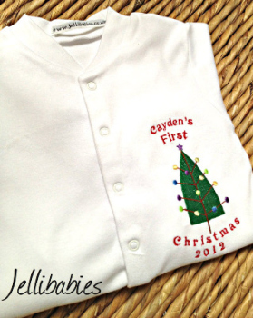Personalised Baby's first christmas sleepsuit  Tree