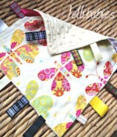 Butterfly baby minky Taggy Blankets