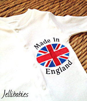 Made in England baby grow sleepsuit