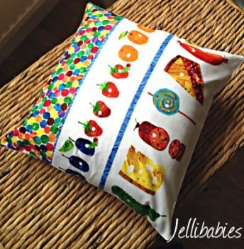 "The very hungry caterpillar  cushion cover  16"" x 16"""