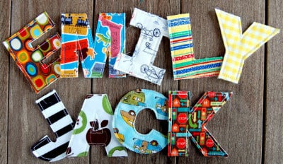 Personalised Fabric  alphabet letter x 1