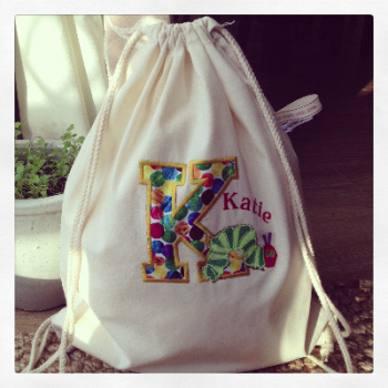 Personalised Canvas The very hungry caterpillar  Drawstring  Bag