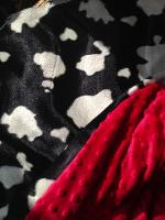 Friesian cow animal  print fur fabric and minkee fleece baby travel blanket