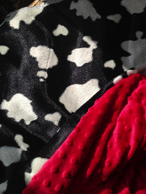 Friesian cow animal  print fur fabric and minkee fleece baby travel blanket