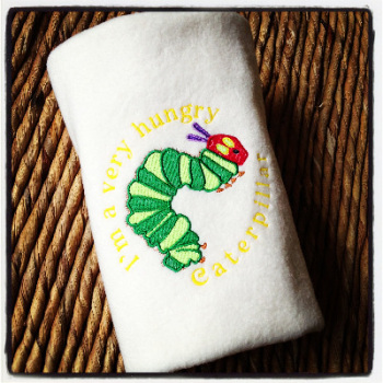 The very hungry caterpillar embroidered personalised baby cot blanket