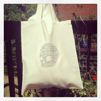 Embroidered Tote bag Hamlet monologue