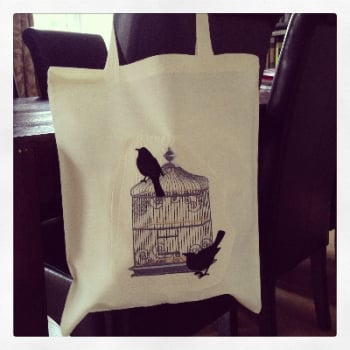 Adult canvas tote & Jute shopping bags  Vintage Birdcage