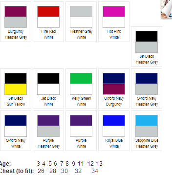 varsity jacket colours and sizes