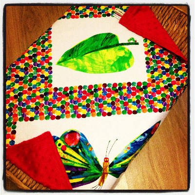 The very hungry caterpillar baby snuggle blanket  with minkee reverse