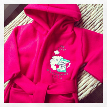 Personalised Babys first christmas dressing gowns  ALL sizes