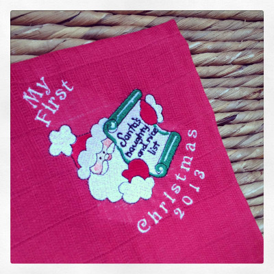Personalised  christmas muslin square