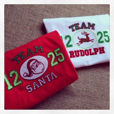 Team santa Team Rudolph  childrens christmas T shirt
