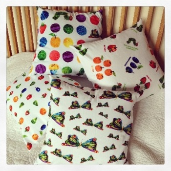"The very hungry caterpillar   floor cushion cover 16"" x16"""