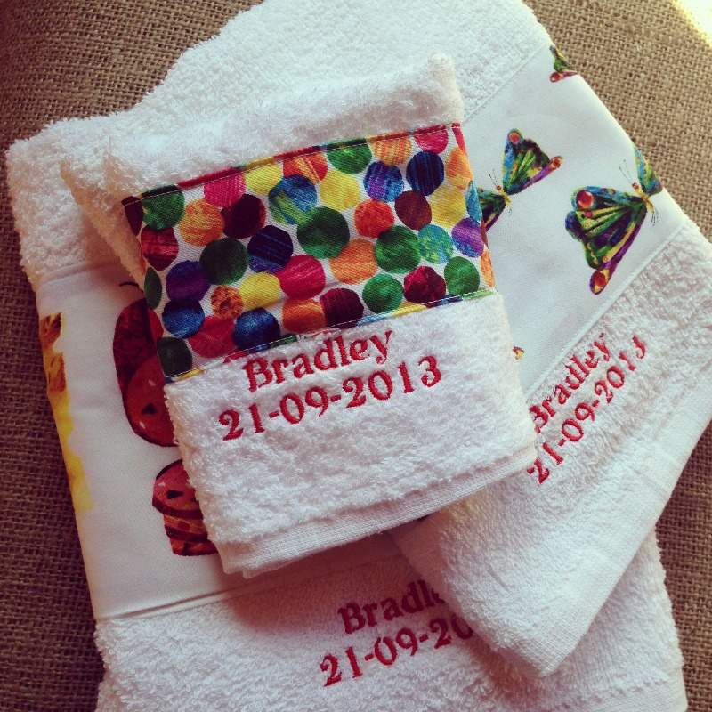 the very hungry caterpillar personalised new baby towel gift set