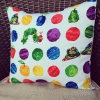 "The very hungry caterpillar large spot cushion cover 16"" x16"""