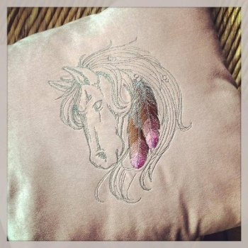 Personalised Embroidered horse head cushion with fill