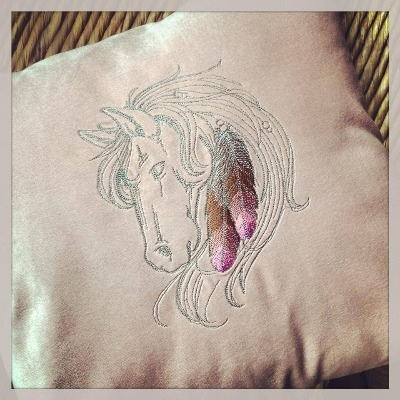 Personalised Embroidered horse head cushion cover