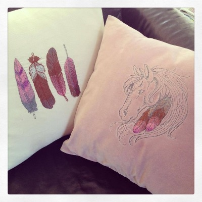 Embroidered Feathers  cushion cover