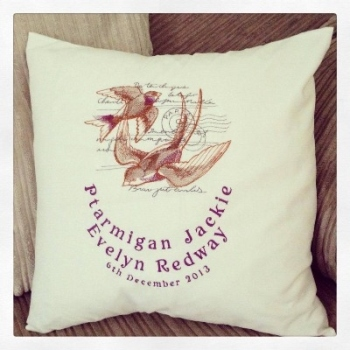 Embroidered swallows   cushion cover