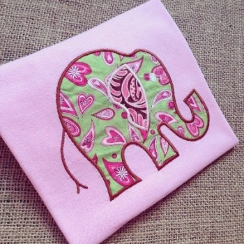 Children's bright elephant applique t shirt