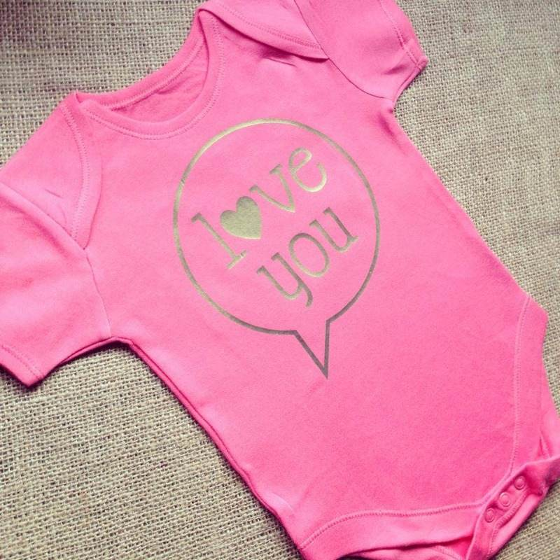 love you pink baby onesie vest