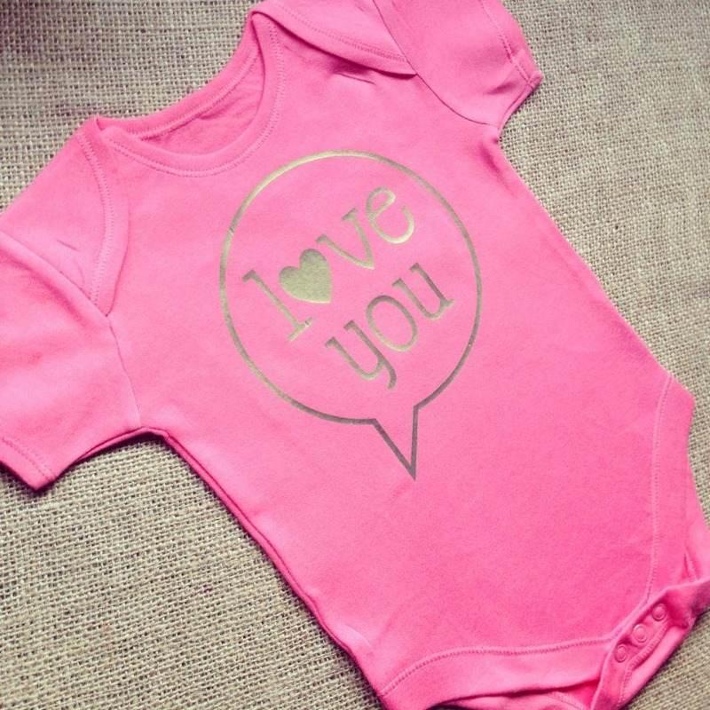 love you pink baby onesie vest