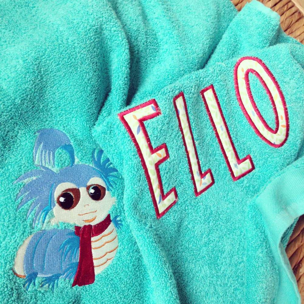 Personalised Labyrinth worm baby towel