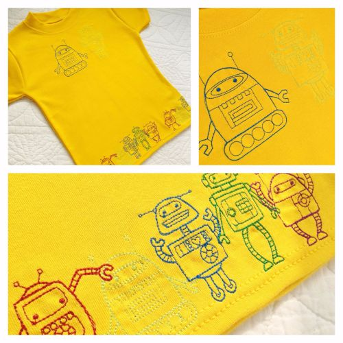 Space man and alien  embroidered children's T shirt