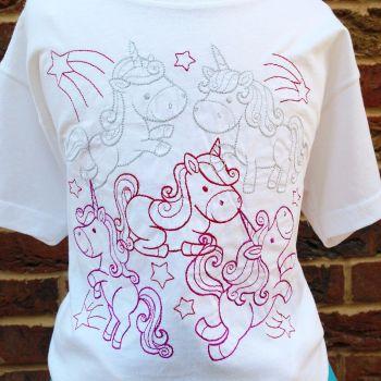 Unicorn collage embroidered  children's T shirt