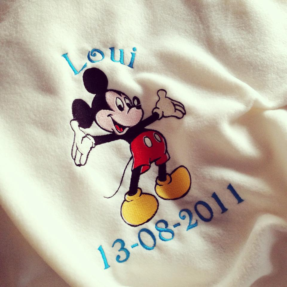 Mickey Mouse personalised baby cot blanket