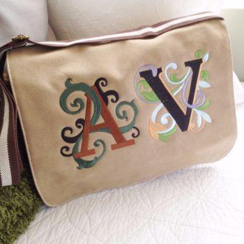 Monogrammed personalised adult  messenger bag