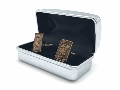 Indefatigable old boys association cuff links in presentation box colour go