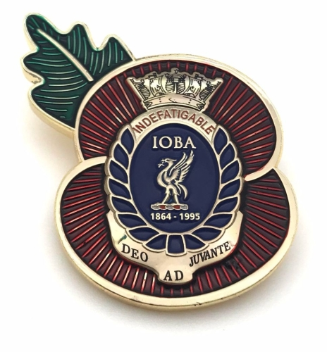 Indefatigable old boys association poppy badge collected from reunion