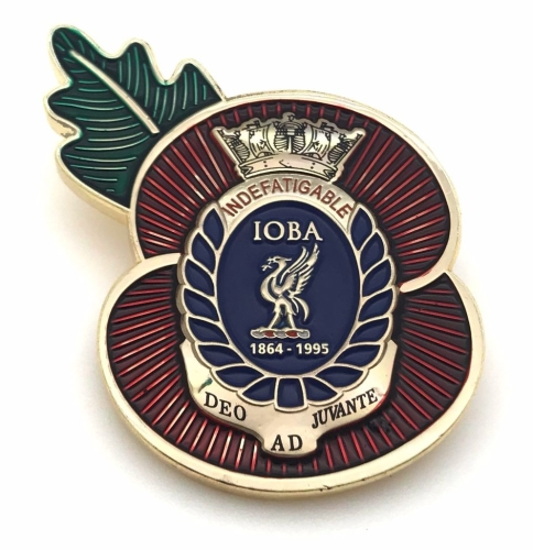 Indefatigable old boys association poppy badge posted