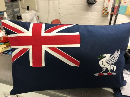 training ship indefatigable blue ensign cushion
