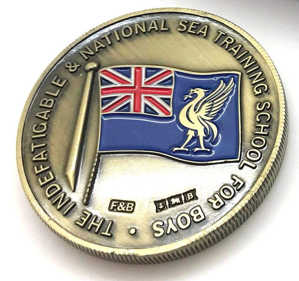 Indefatigable coin/medal Commemorative box set Antique Brass plate