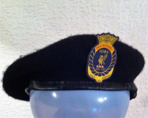 Beret black with IOBA cloth badge collected