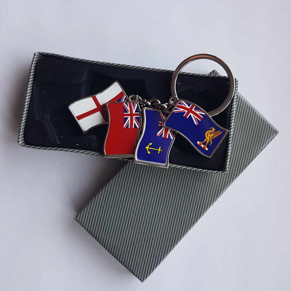 Flag key ring four flags of your choice collected